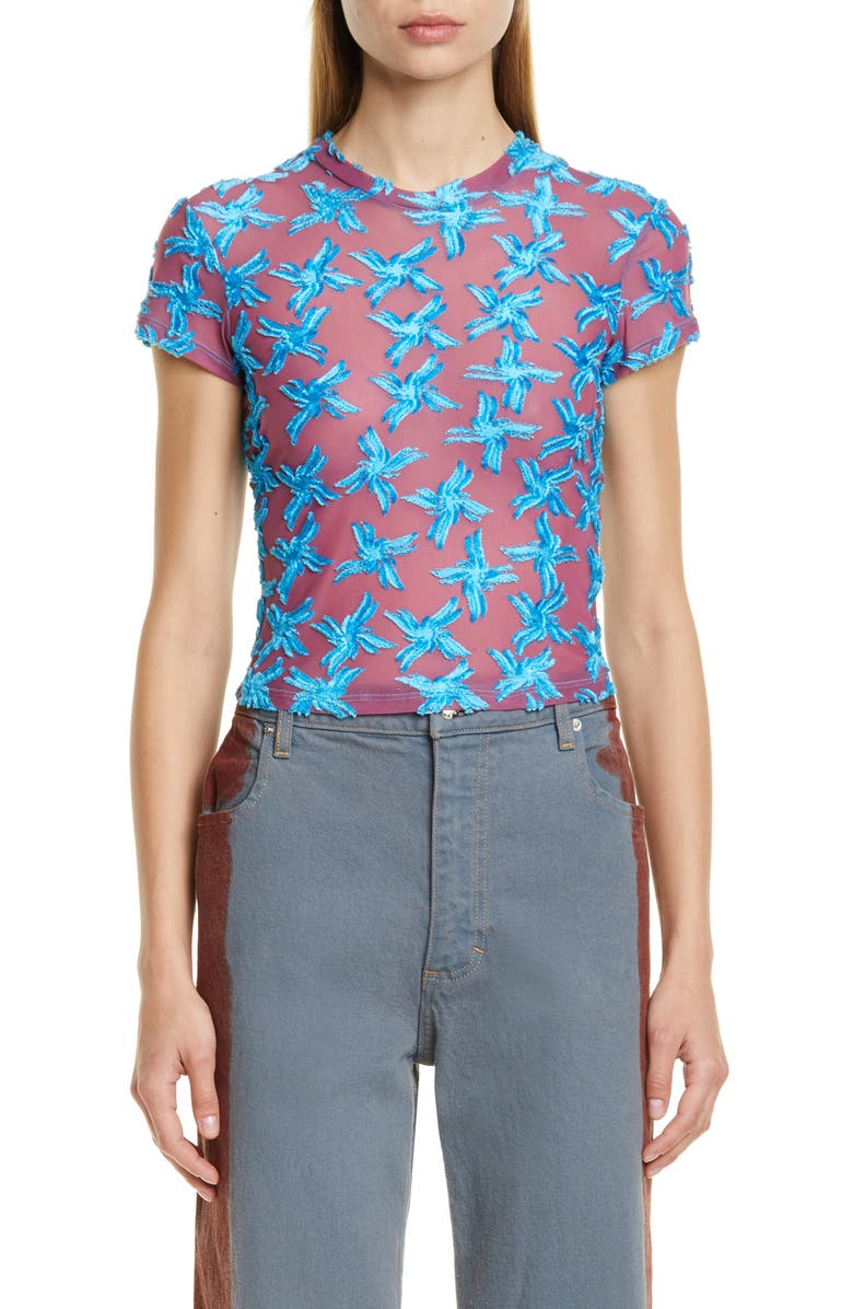 ECKHAUS LATTA Velvet Floral Shrunken Mesh Tee, Main, color, ROSE AND BLUE