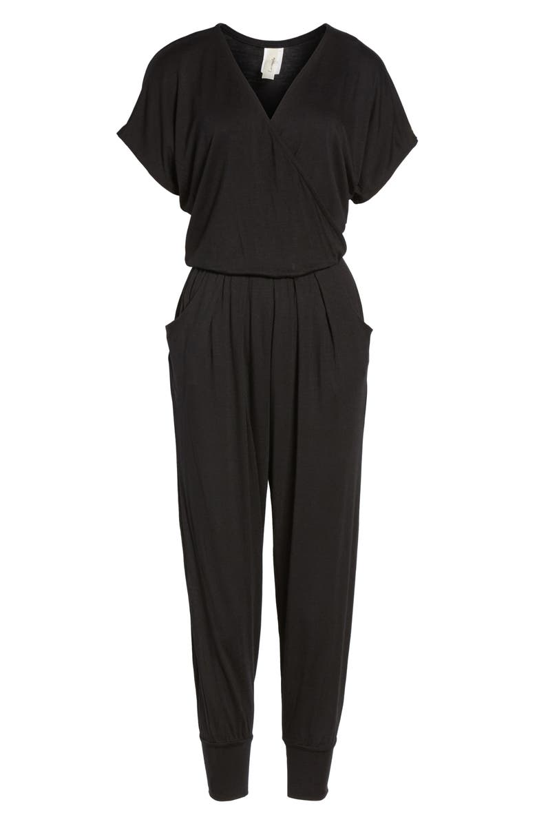 LOVEAPPELLA Short Sleeve Wrap Top Jumpsuit, Main, color, BLACK