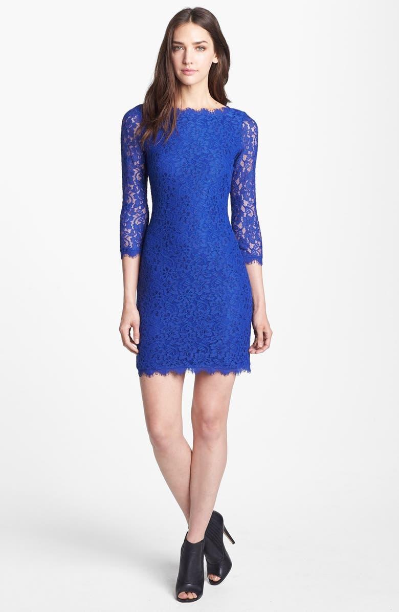 DIANE VON FURSTENBERG 'Zarita' Lace Sheath Dress, Main, color, 460