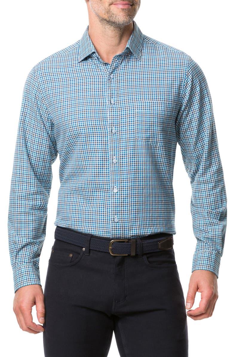 RODD & GUNN Maxwell Regular Fit Check Button-Up Shirt, Main, color, OCEAN