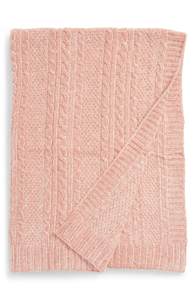 NORDSTROM Chenille Cable Knit Blanket, Main, color, PINK SMOKE