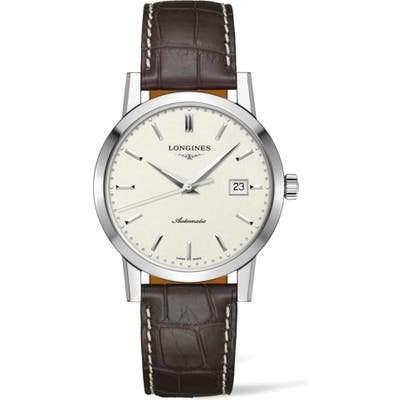 Longines 1832 Automatic Alligator Leather Strap Watch, 40Mm