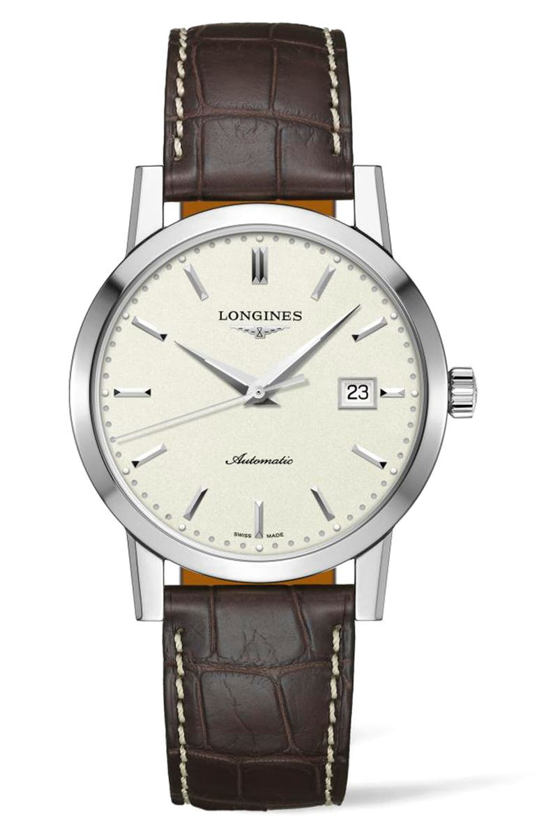 LONGINES 1832 Automatic Alligator Leather Strap Watch, 40mm, Main, color, 200