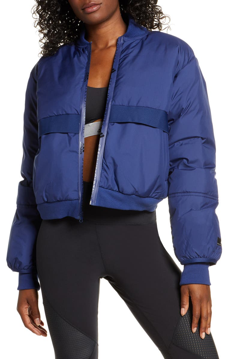 ADIDAS BY STELLA MCCARTNEY Padded Bomber Jacket, Main, color, DARK BLUE