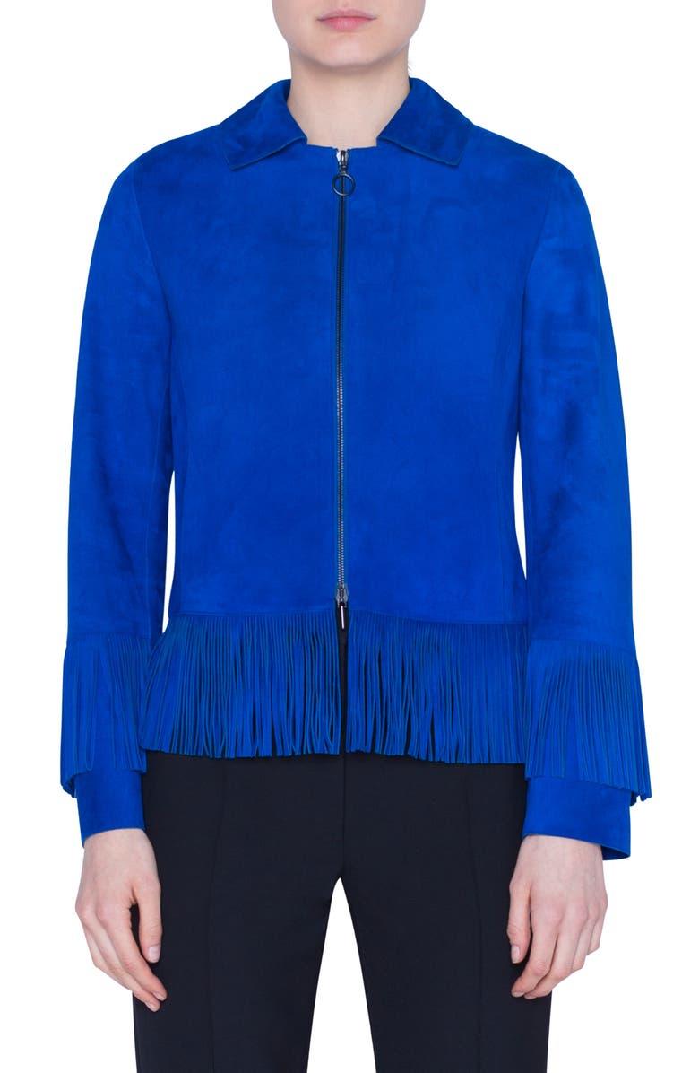 AKRIS PUNTO Fringe Trim Suede Jacket, Main, color, ELECTRIC BLUE