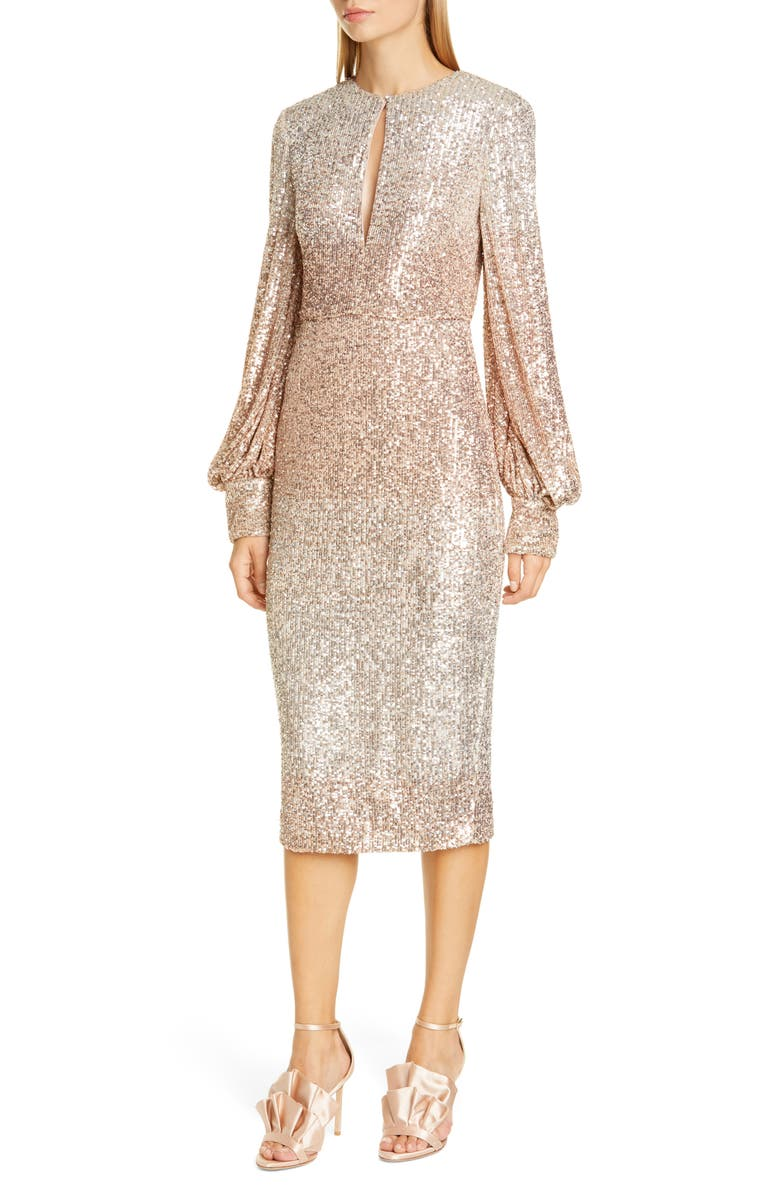 BADGLEY MISCHKA COLLECTION Badgley Mischka Ombré Sequin Cocktail Dress, Main, color, CHAMPAGNE