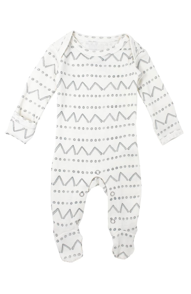 L'OVEDBABY Seaform Mountains Organic Cotton Footie, Main, color, 100