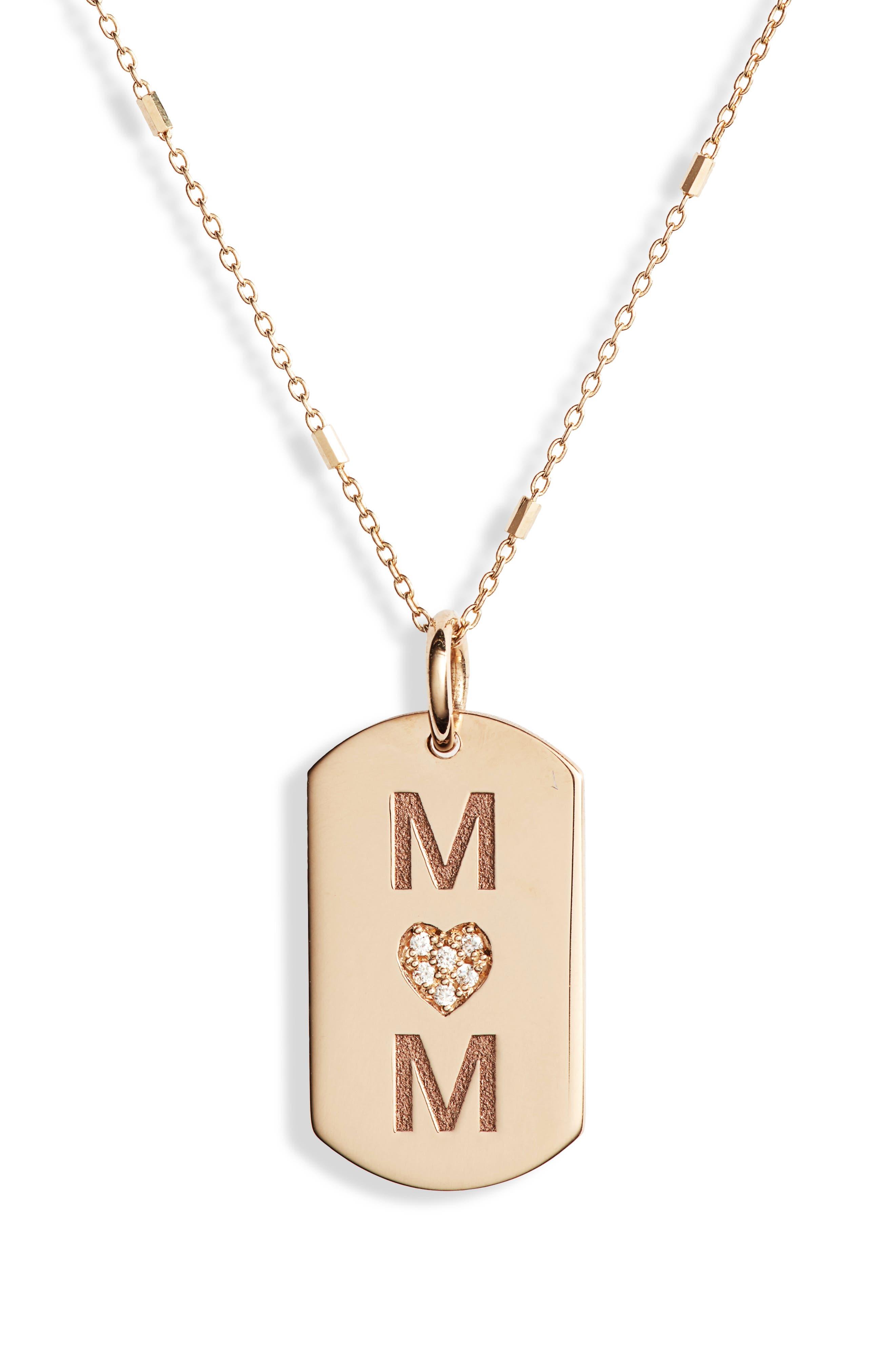 Zoe Chicco Mom Diamond Dog Tag Necklace