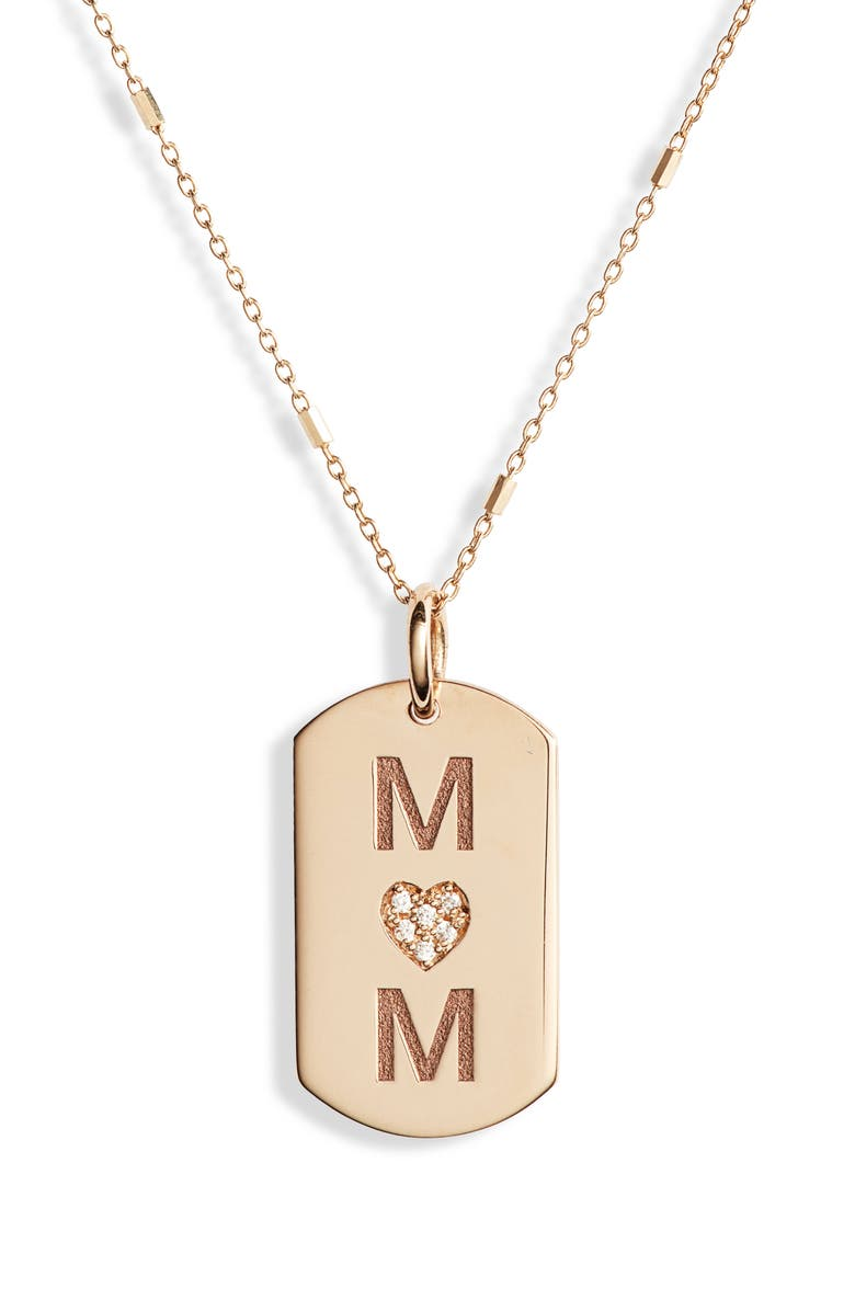 ZOË CHICCO Mom Diamond Dog Tag Necklace, Main, color, YELLOW GOLD