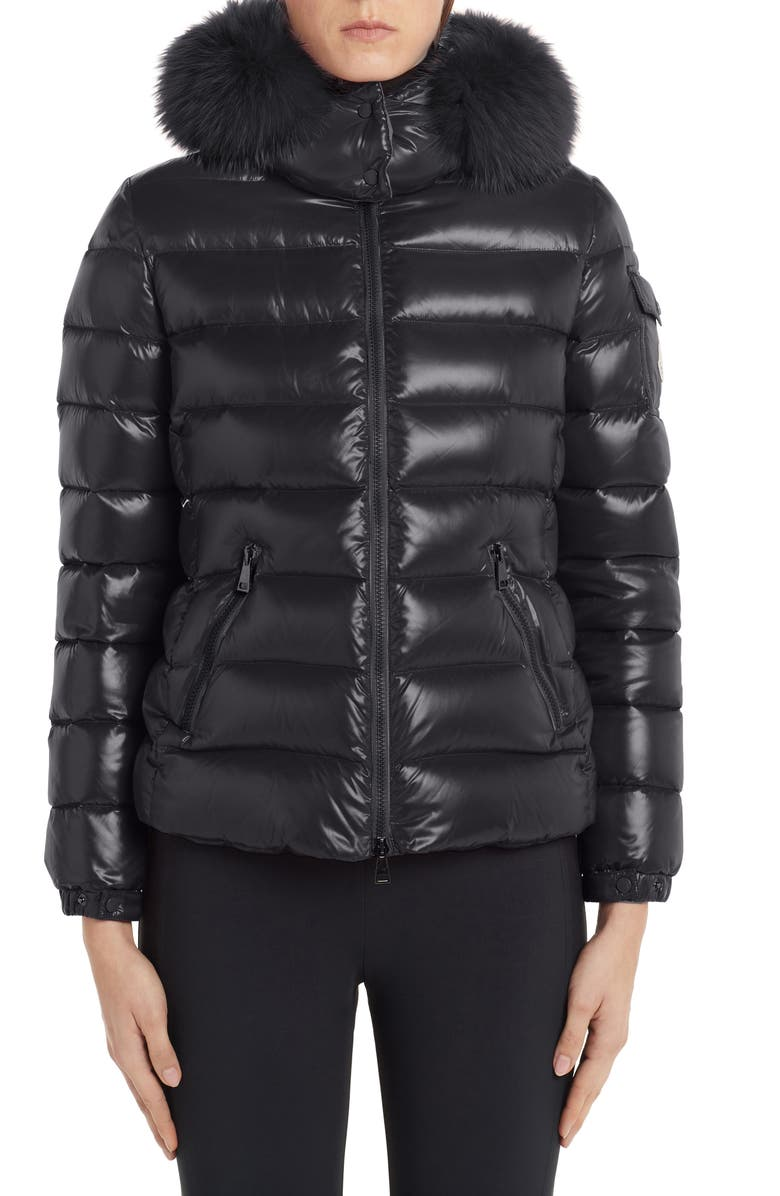 MONCLER Badyfur Quilted Down Puffer Jacket with Removable Genuine Fox Fur Trim, Main, color, BLACK