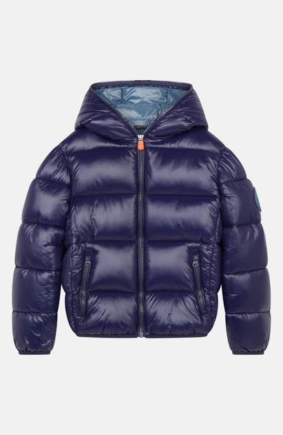 SAVE THE DUCK KIDS' SHINY LOGO PUFFER COAT