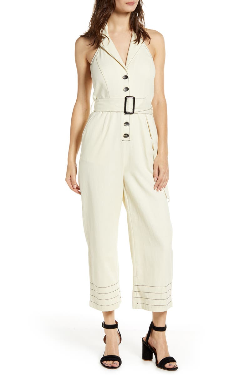 MOON RIVER Belted Halter Jumpsuit, Main, color, CREAM