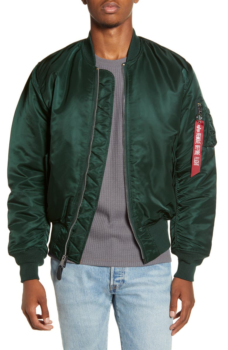 ALPHA INDUSTRIES Reversible Flight Jacket, Main, color, PATROL GREEN