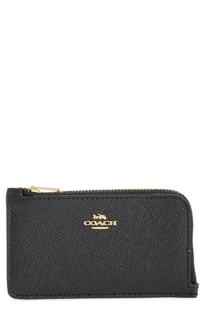 COACH Small Leather Zip Card Case, Main, color, GD/ BLACK