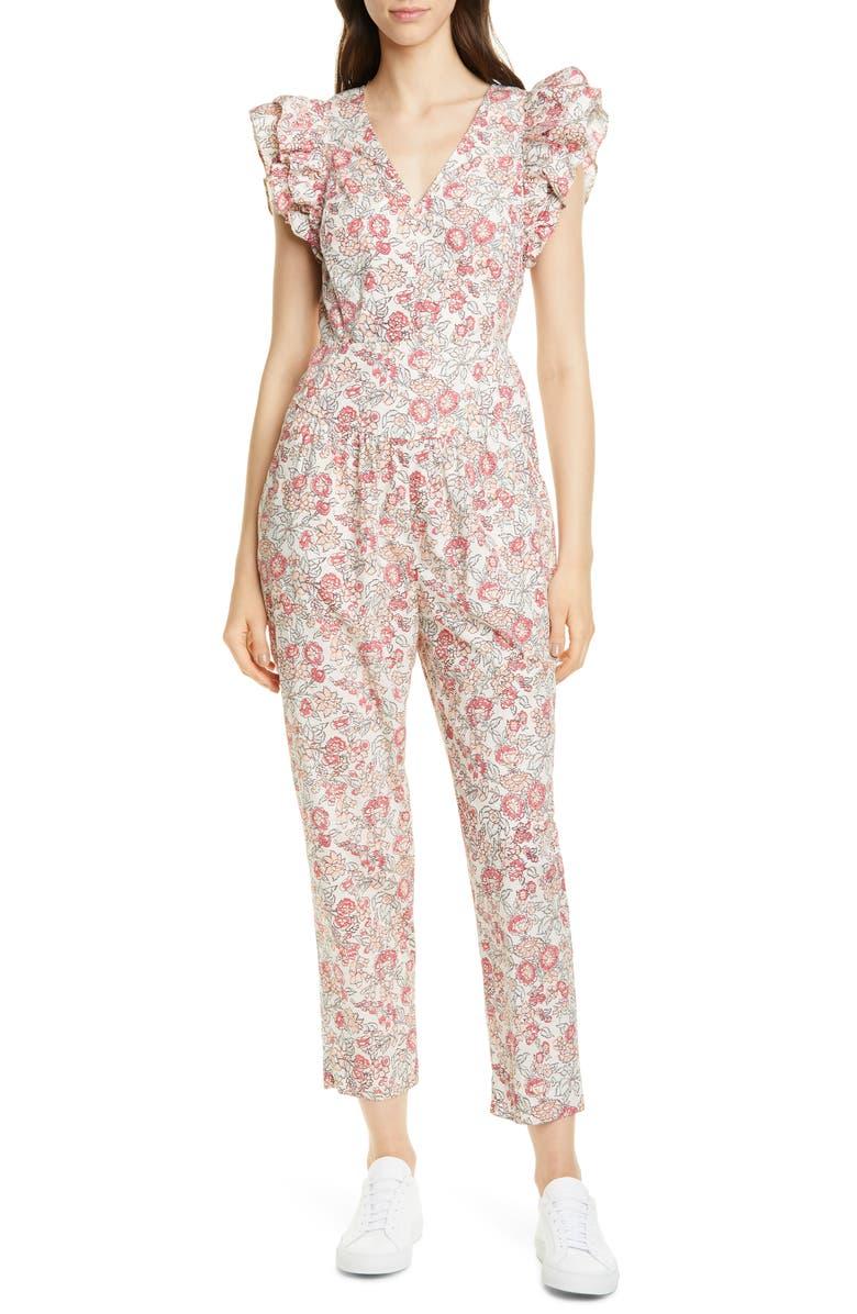 LA VIE REBECCA TAYLOR Falaise Floral Cotton Jumpsuit, Main, color, LIGHT NECTAR COMBO