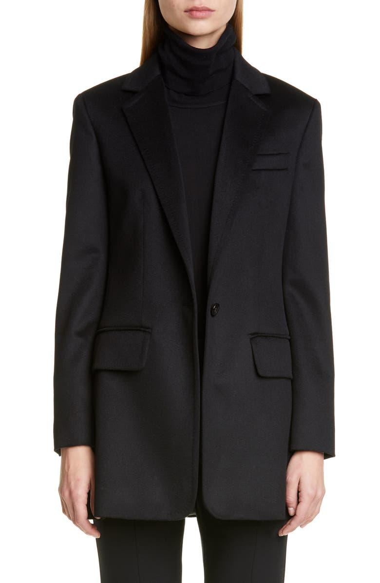 MAX MARA Fagiani Camel Hair Jacket, Main, color, BLACK