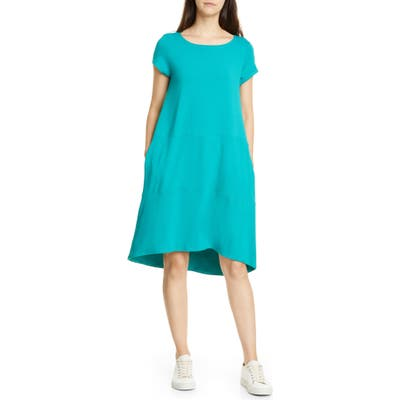 Eileen Fisher Bateau Neck Cap Sleeve Dress, Blue/green