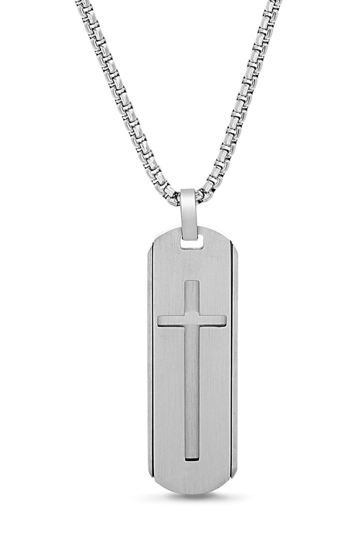 Image of Steve Madden Oval Open-Cross Dogtag Box Chain Necklace
