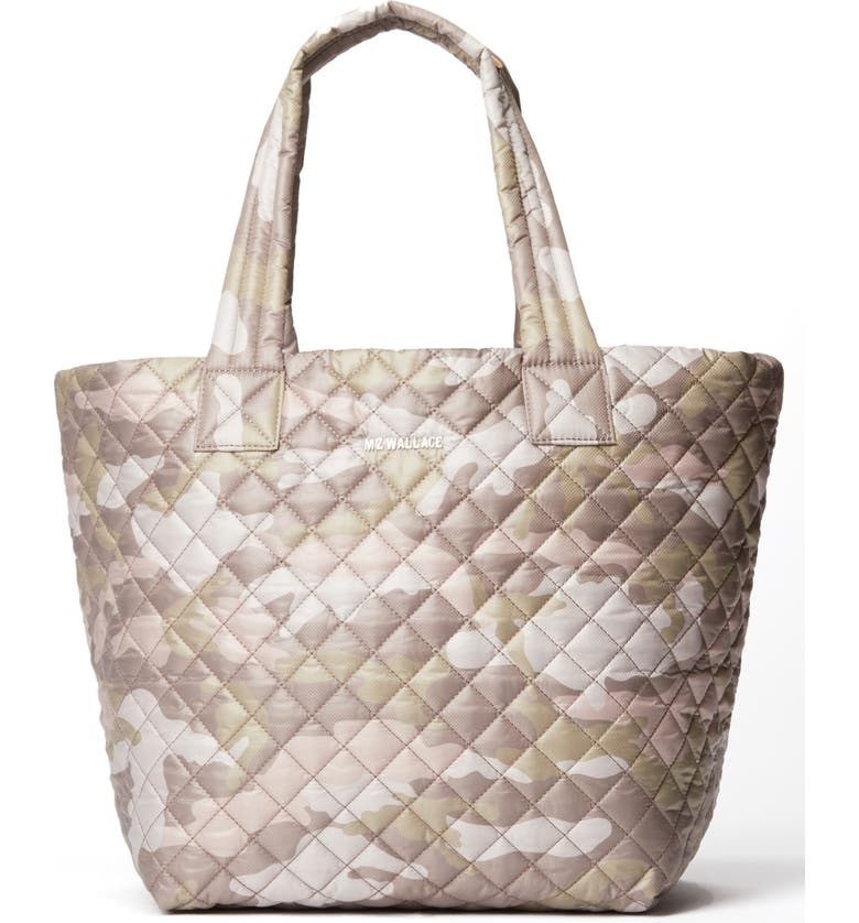 MZ WALLACE Medium Metro Quilted Nylon Tote, Main, color, BLUSH CAMO