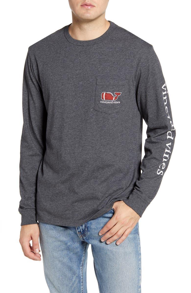 Textured Football Long Sleeve Pocket T Shirt by Vineyard Vines