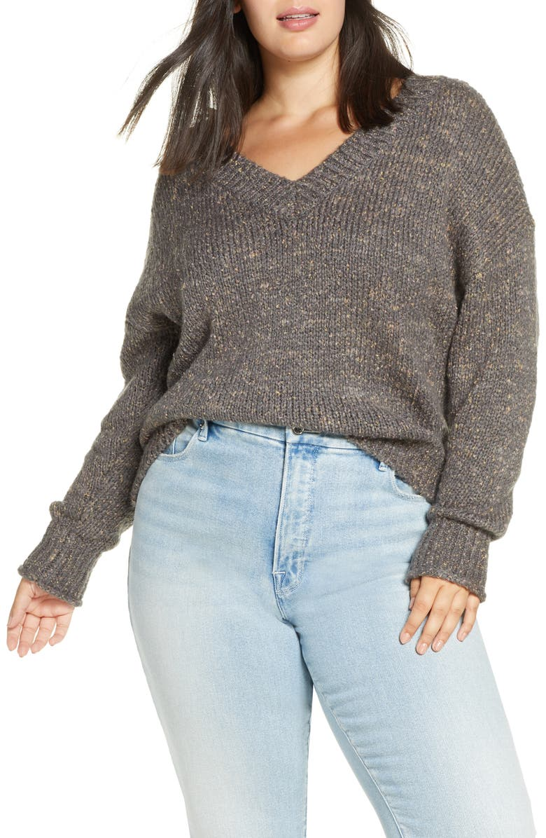 BP. Cozy V-Neck Sweater, Main, color, GREY CASTLEROCK BOUCLE MARL