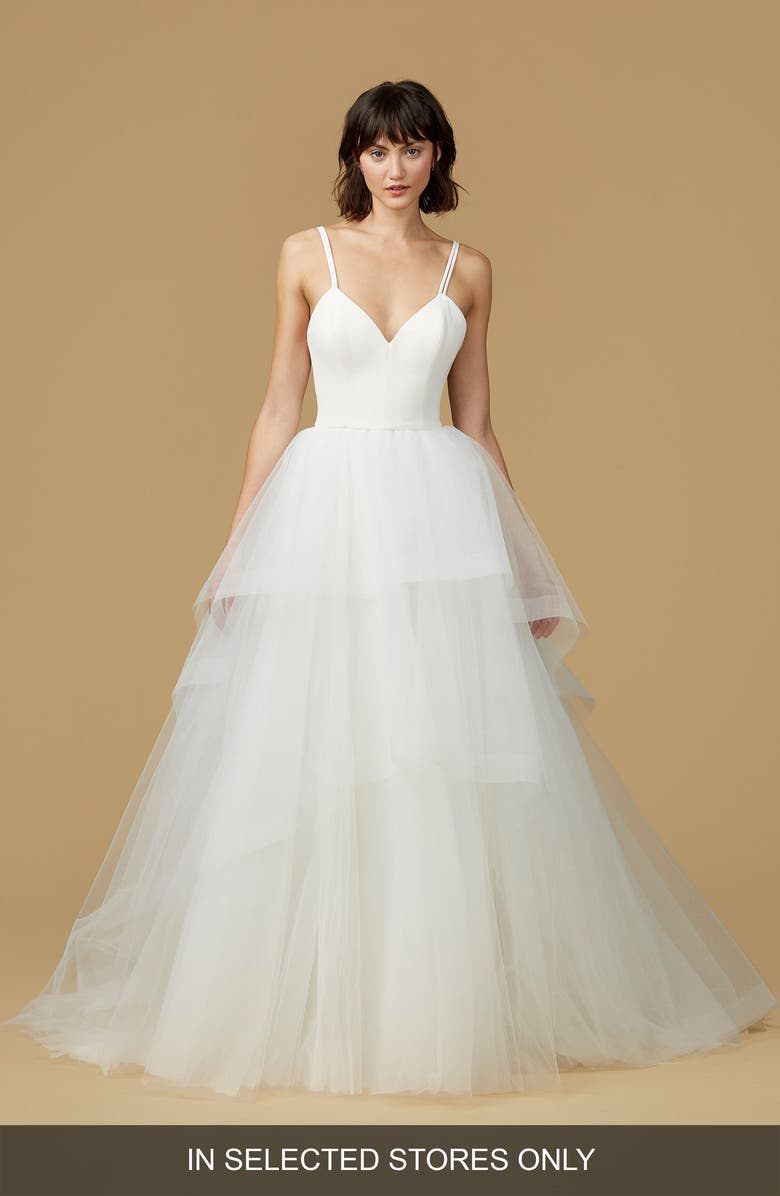 NOUVELLE AMSALE Mischa Strappy Tulle Ballgown, Main, color, IVORY