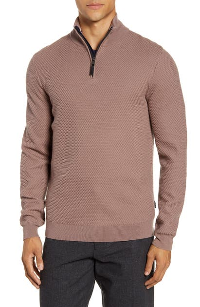 Ted Baker Sweaters TUNNEL SLIM FIT TEXTURED QUARTER ZIP SWEATER