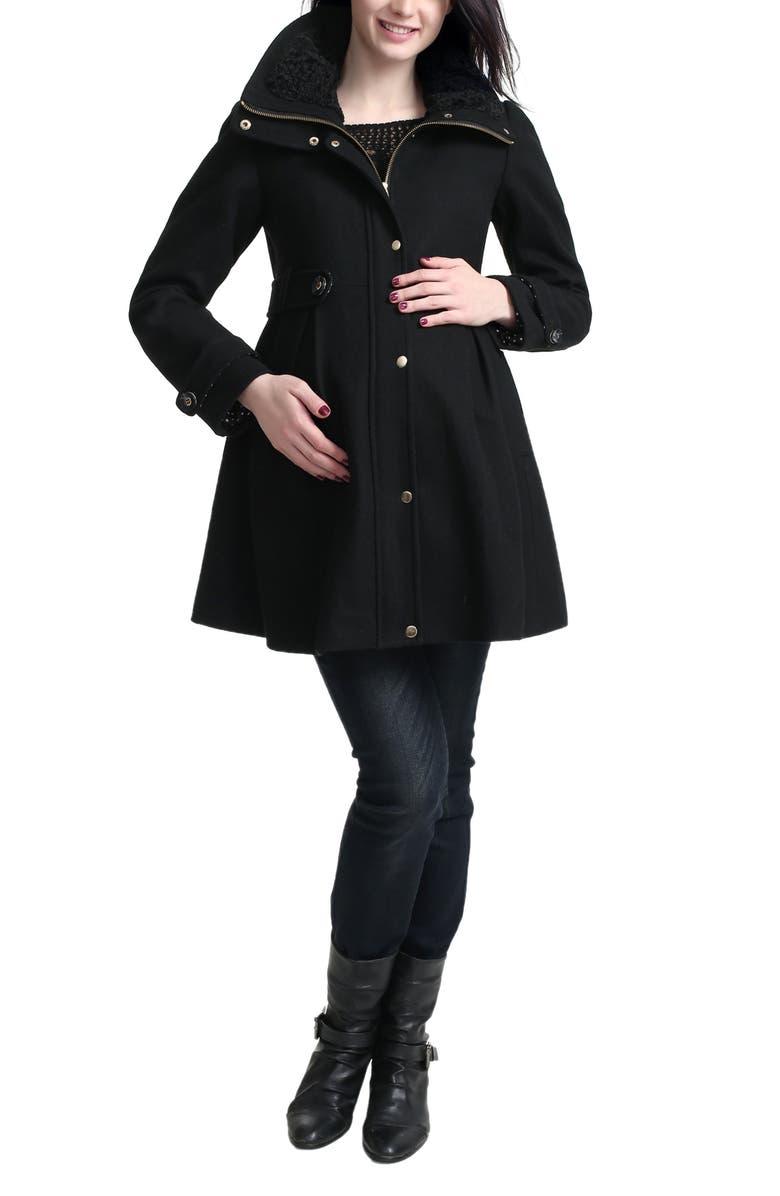 KIMI AND KAI Olivia Wool Blend Maternity Coat, Main, color, BLACK