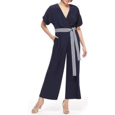 Maggy London Marina Tie Belt Short Sleeve Jumpsuit, Blue