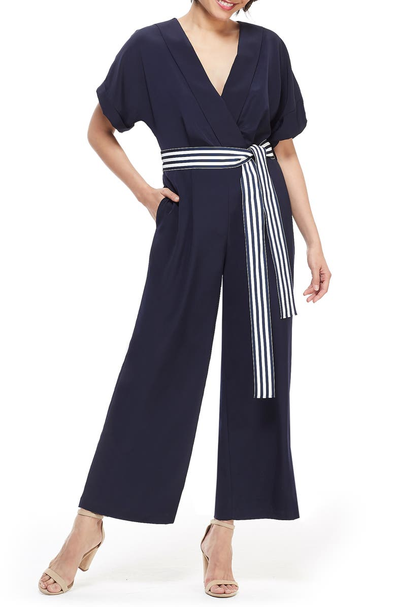 MAGGY LONDON Marina Tie Belt Short Sleeve Jumpsuit, Main, color, NAVY