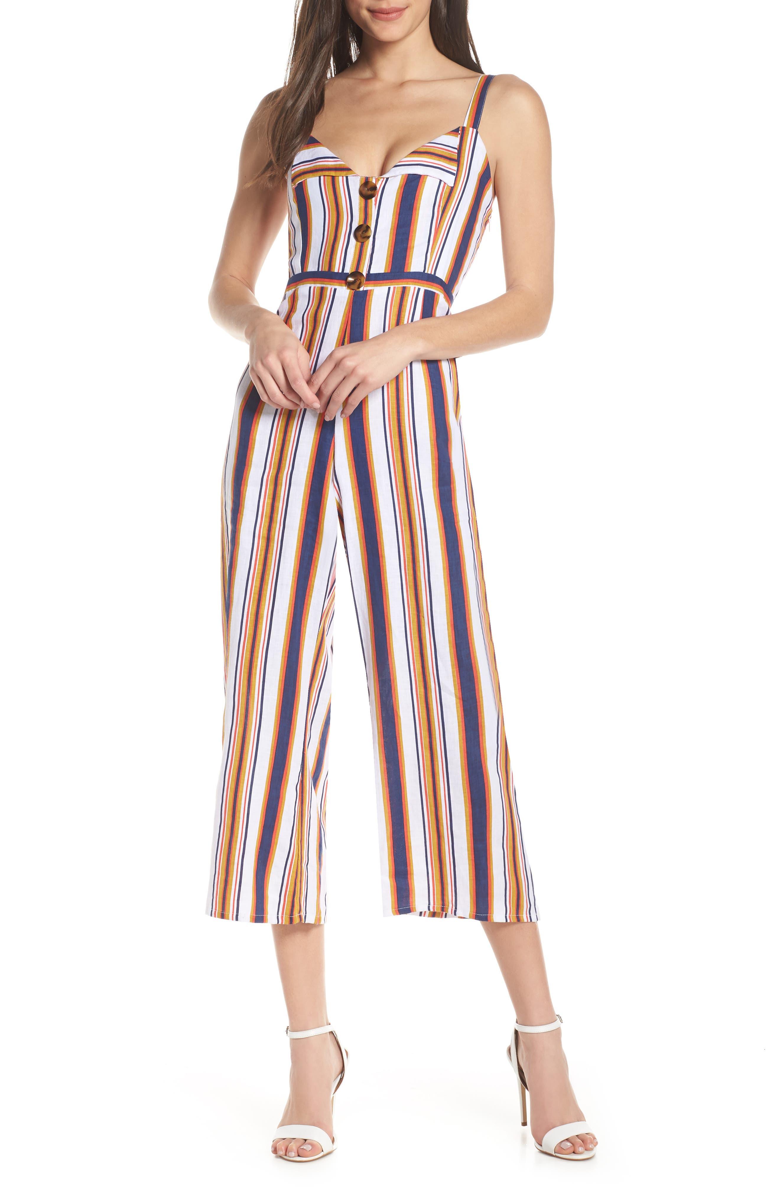 Faithfull The Brand Scout Stripe Sleeveless Linen Jumpsuit, Blue