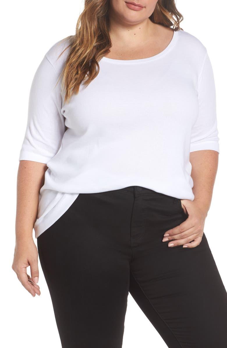 CASLON<SUP>®</SUP> Ballet Neck Cotton & Modal Knit Elbow Sleeve Tee, Main, color, WHITE
