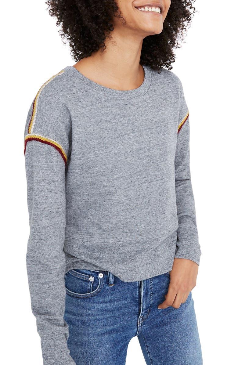 MADEWELL Embroidered Trim Crop Sweatshirt, Main, color, HEATHER ASH