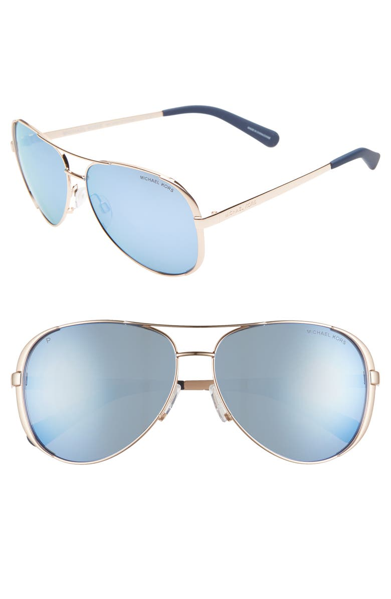 MICHAEL KORS Collection 59mm Polarized Aviator Sunglasses, Main, color, GOLD/ BLUE MIRROR