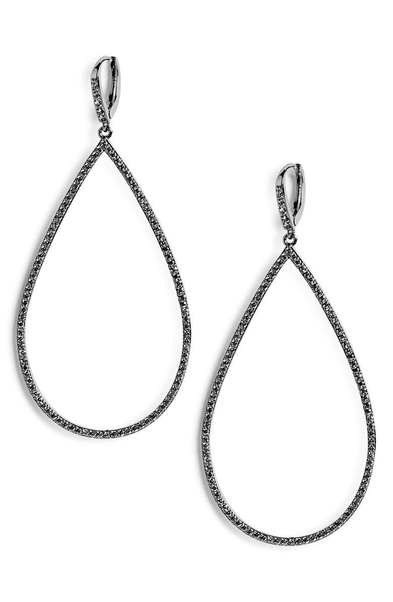 LISA FREEDE Micro Pavé Teadrop Earrings, Main, color, SILVER