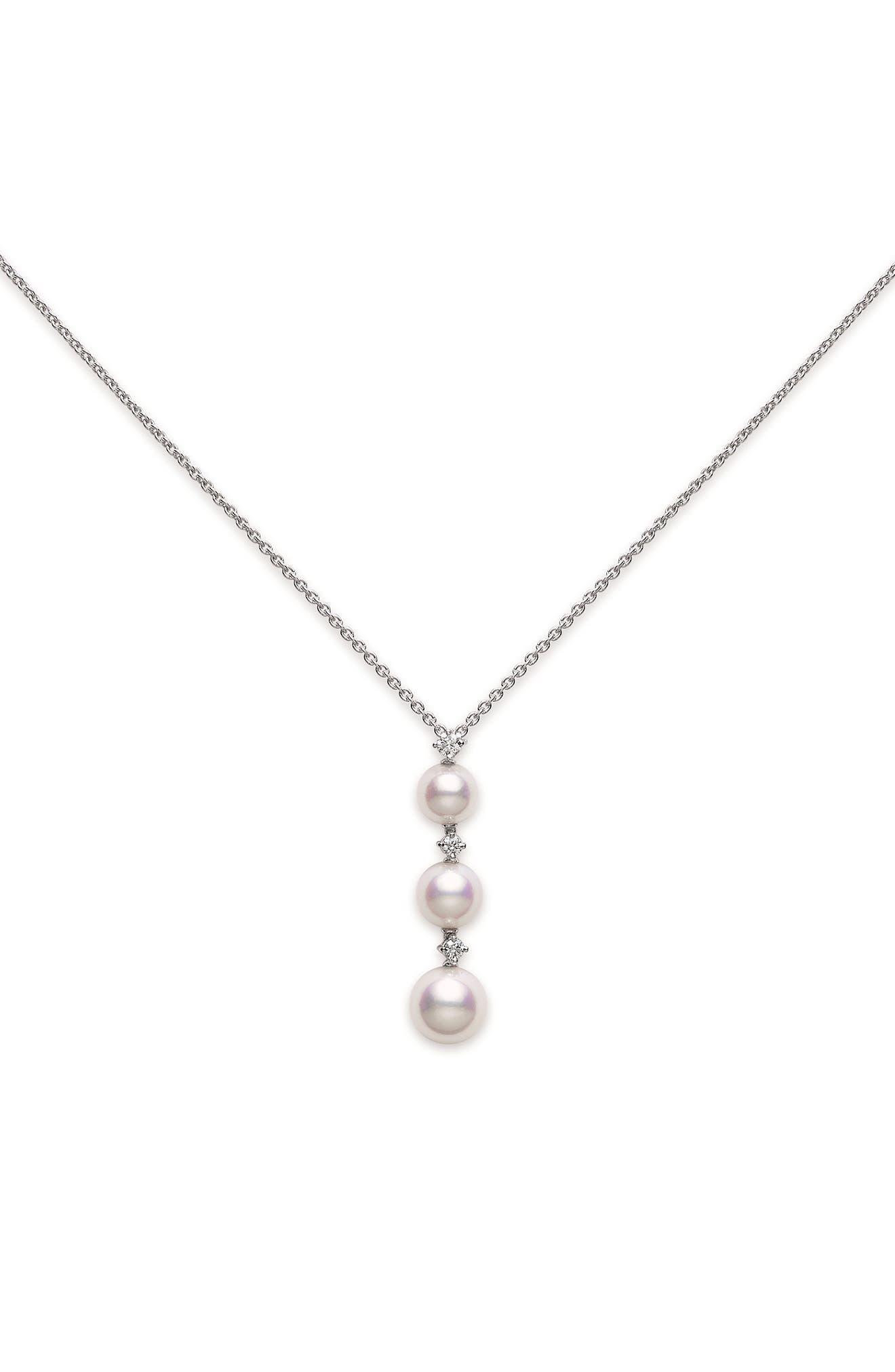 Diamond & Pearl Drop Necklace
