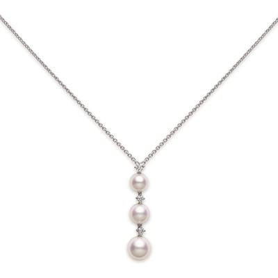 Mikimoto Diamond & Pearl Drop Necklace