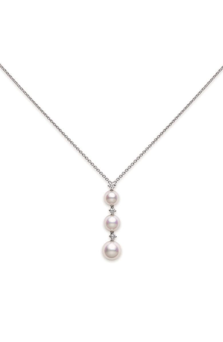 MIKIMOTO Diamond & Pearl Drop Necklace, Main, color, WHITE GOLD/ PEARL