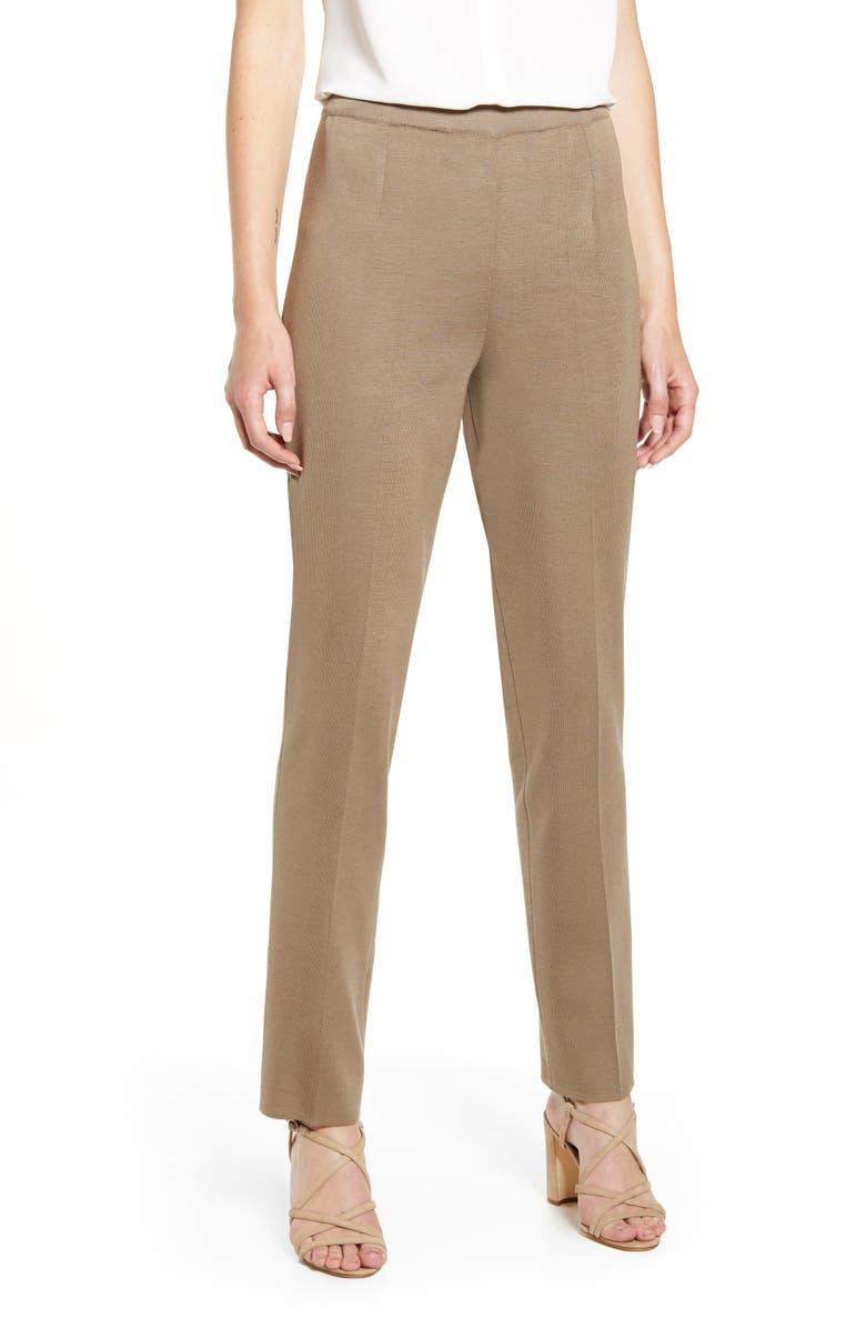 MING WANG Pull-On Knit Pants, Main, color, CAPPUCCINO