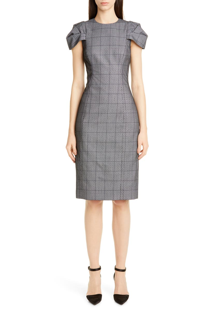 JASON WU COLLECTION Lace Overlay Glen Plaid Sheath Dress, Main, color, NAVY/ CHALK