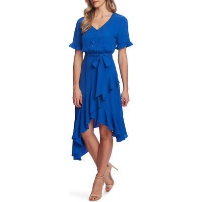 Cece Ruffle Belted High/low Dress, Blue