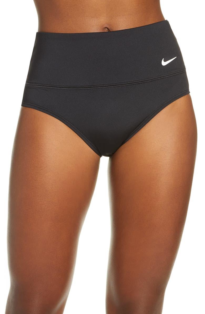 NIKE Essential High Waist Bikini Bottoms, Main, color, BLACK