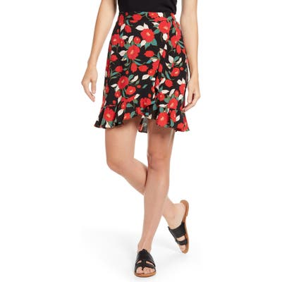 Petite Gibson X Hot Summer Nights Two Peas Ruffle Faux Wrap Skirt, Red (Regular & Petite) (Nordstrom Exclusive)