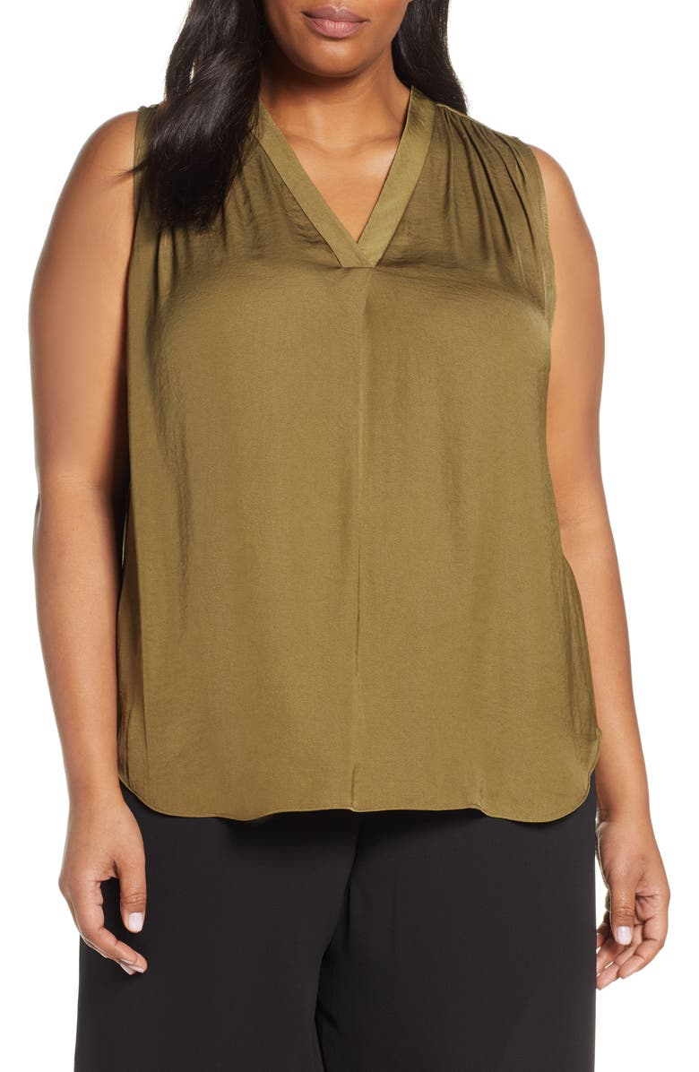 VINCE CAMUTO V-Neck Rumple Satin Blouse, Main, color, 344