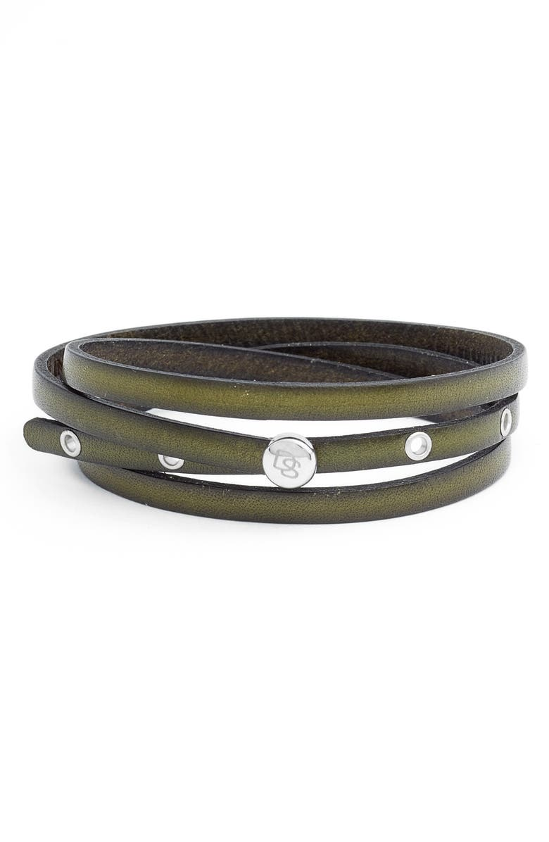 DEGS & SAL Leather Wrap Bracelet, Main, color, GREEN