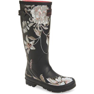 Joules Print Welly Waterproof Rain Boot, Grey
