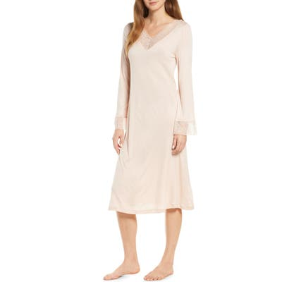 Hanro Imani Lace Trim Long Sleeve Nightgown, Beige