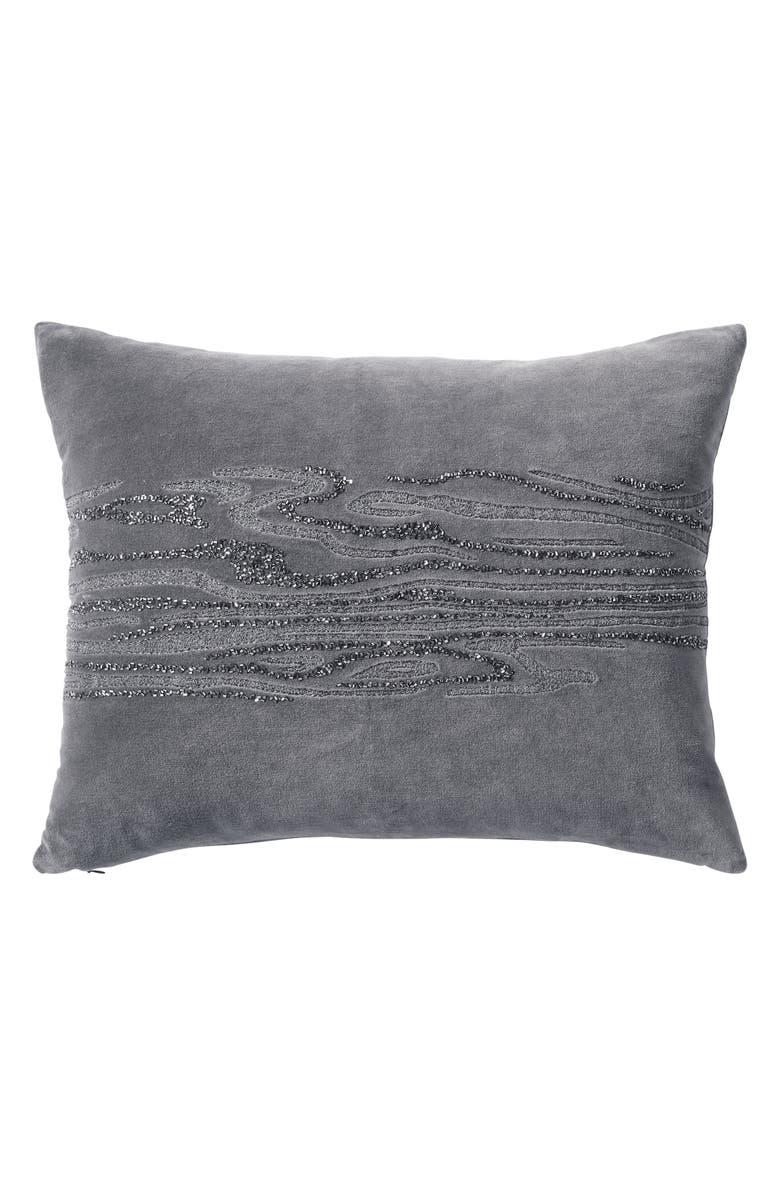 DONNA KARAN NEW YORK Current Beaded Accent Pillow, Main, color, GREY