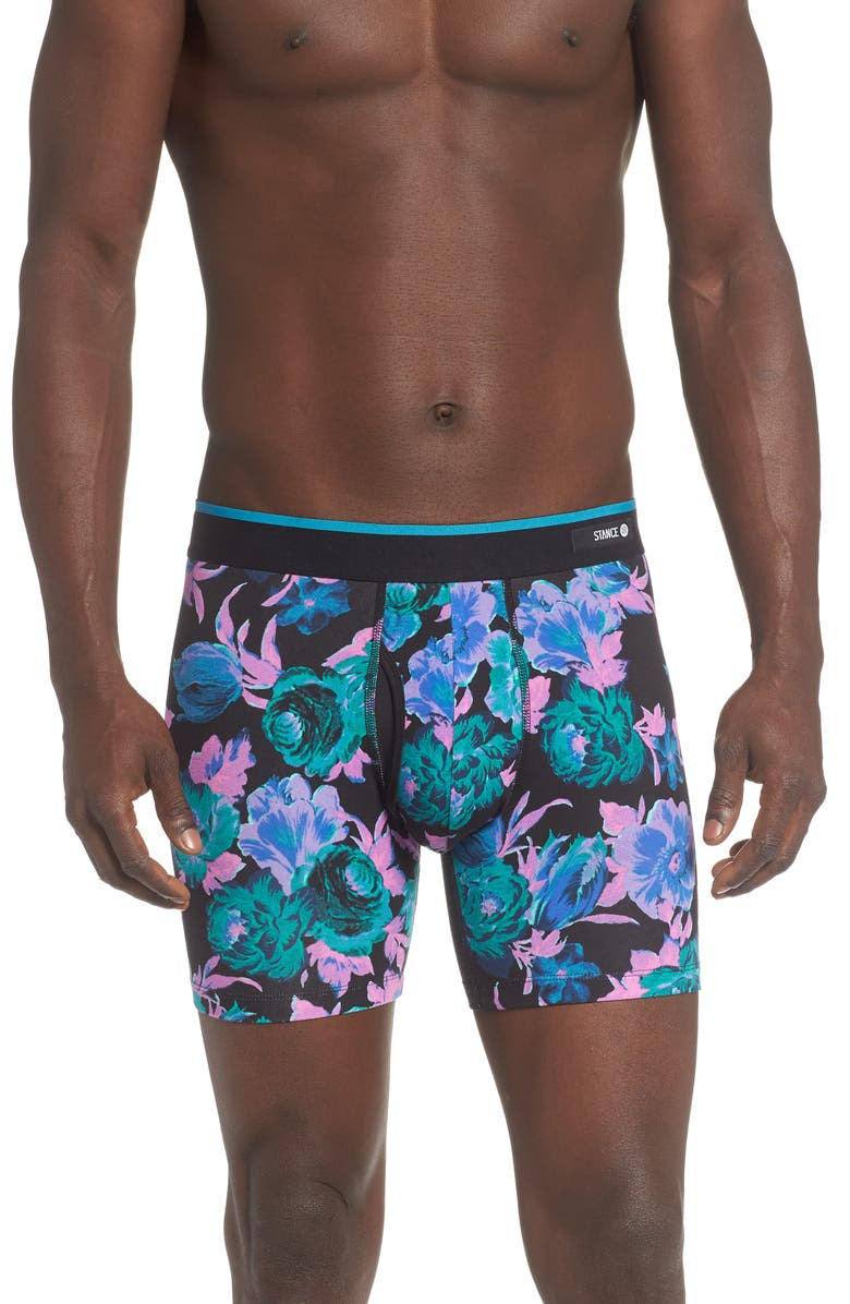 STANCE Floral Boxer Briefs, Main, color, BLACK