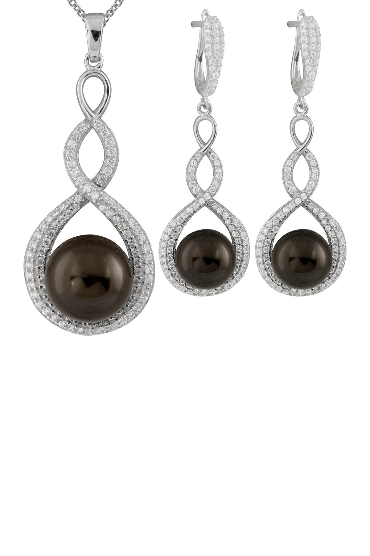 Image of Splendid Pearls 2-Piece 9-10mm Black Shell Pearl Necklace & Earrings Set